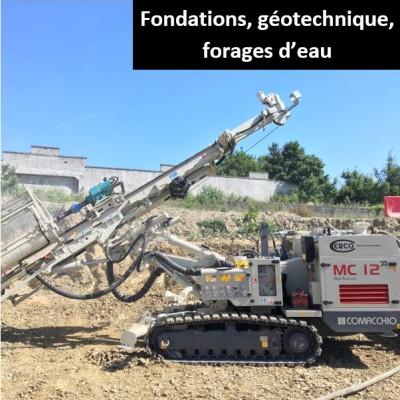 Fondations, géotechnique, forages d'eau